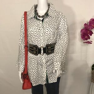 Foxcraft NYC Polka Dot Shirt Long sleeve 24w EUC